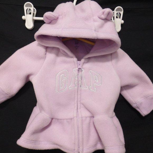 BABY GAP, 0-3 months, fleece zip hoodie with ears